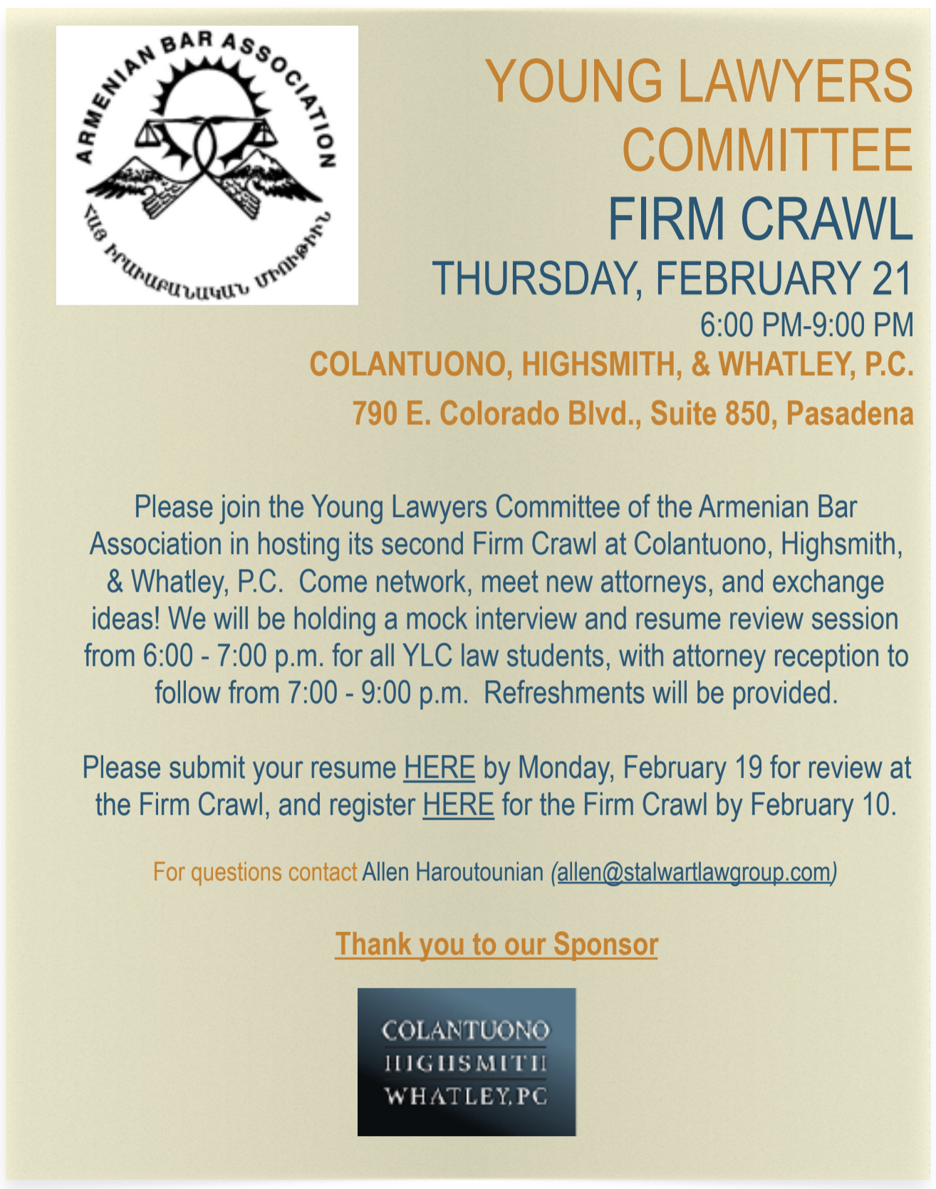 Please Join The Young Lawyers Committee Of Armenian Bar Ociation On Thursday February 21 2019 In Hosting Its Third Firm Crawl Hosted By Colantuono